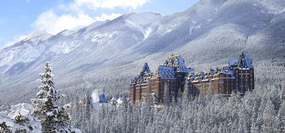 The Fairmont Banff Springs Hotel in winter